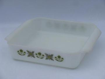 meadow green vintage Fire-King ovenware kitchen glass square baking pan