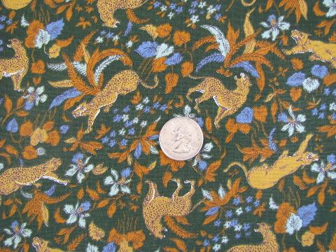 Medieval Tapestry Style Print Wild Cats W Iris Flowers