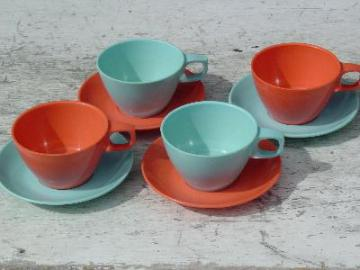 melmac cups & saucers, turquoise/coral