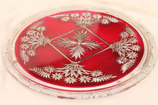 Favorite mercury silver ruby red glass plateau plate or tray, antique  SJ71