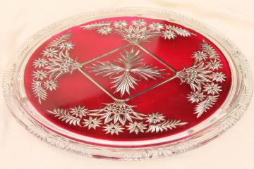 mercury silver ruby red glass plateau plate or tray, antique vintage goofus glass