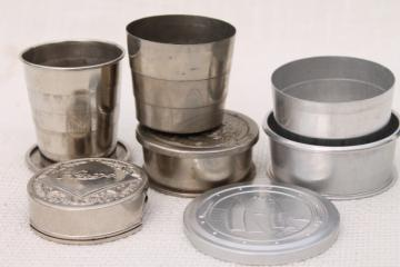 metal drinking cups pocket portable camp travel, collapsible folding cup lot antique & vintage