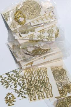 metallic gold foil border trimming edging & snips, paper filigree doily lace lot