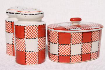metro retro style red & black checkers kitchen range set, vintage Japan hand painted ceramic