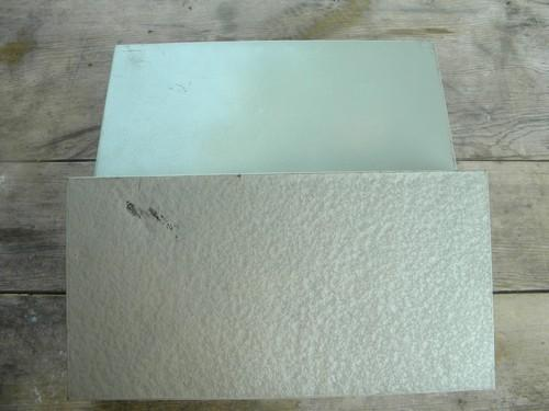 mid century machine age steel slide cases, hammered industrial paint