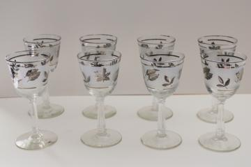 mid century mod Silver Foliage pattern Libbey glass wine glasses set of 8