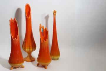 mid century mod vintage Simplicity vases, Smith & Fayette art glass persimmon orange