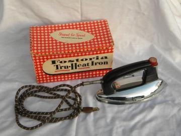 mid century streamlined vintage laundry iron w/original box
