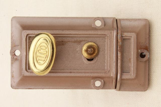 Mid Century Vintage Door Dead Lock W Keys Surface Mounting Deadbolt Hardware
