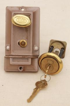 mid century vintage door dead lock  w/ keys surface mounting deadbolt hardware