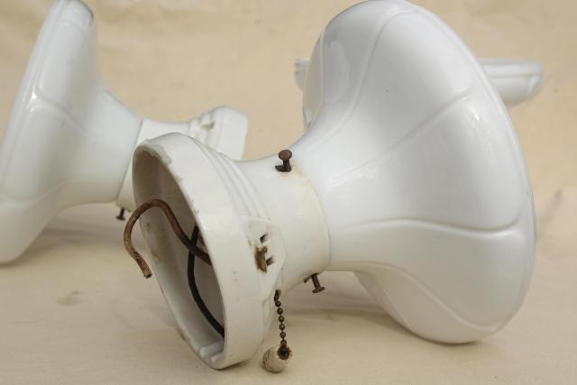 mid century vintage industrial ceiling light fixtures, white ironstone w/ milk glass shades