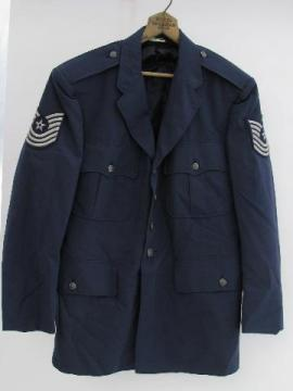 mid-century Vietnam vintage, USAF blue uniform jacket w/patches&buttons