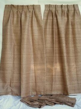 mid-century mod hemp colored barkcloth texture fiberglass drapes, vintage 50s 60s