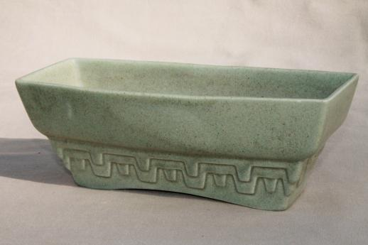 mid-century mod matte green glaze floraline pottery planters & vases collection