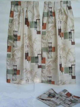 mid-century mod print barkcloth textured fiberglass drapes, vintage 50s 60s