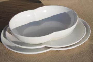 mid-century mod vintage Branchell melmac double bubble serving bowl & platters in white