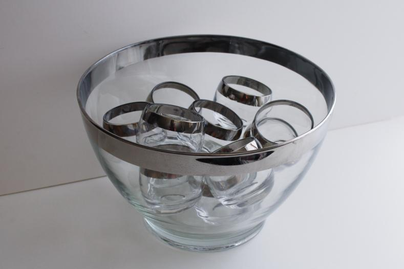 mid-century mod vintage Dorothy Thorpe roly poly wide silver band punch cup glasses & bowl