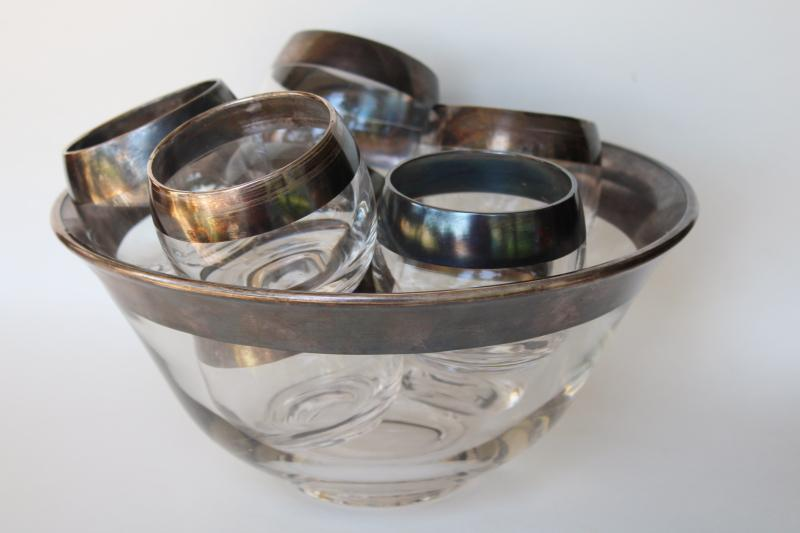 mid-century mod vintage Dorothy Thorpe wide silver band roly poly glasses & punch bowl