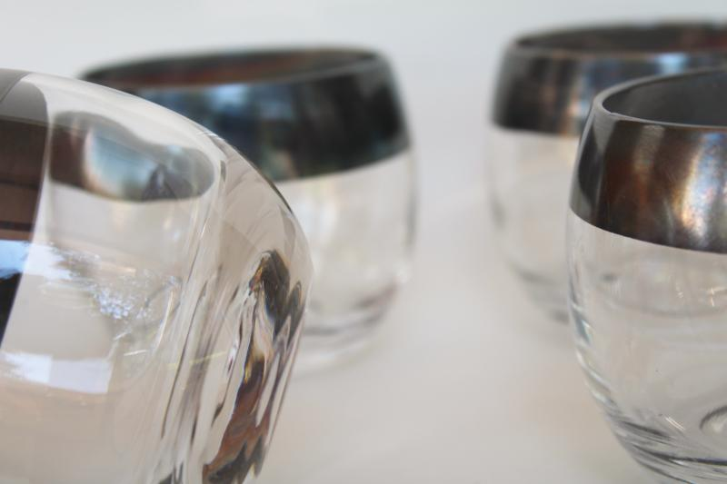 mid-century mod vintage Dorothy Thorpe wide silver band roly poly tumblers drinking glasses