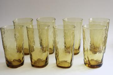 mid-century mod vintage Morgantown topaz crinkle glass tumblers or iced tea glasses
