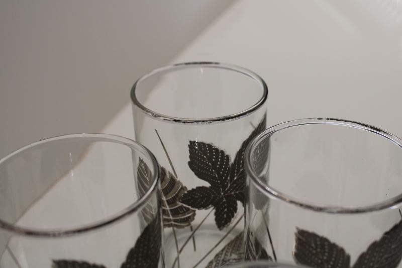 mid-century mod vintage barware, drinking glasses w/ silver leaves Culver or Fred Press?