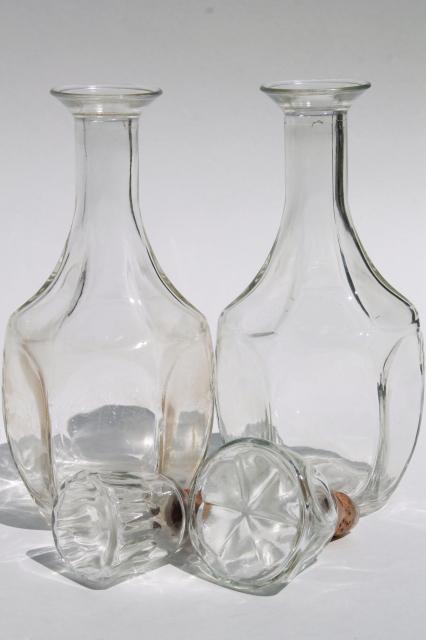 Mid Century Mod Vintage Clear Glass Decanters Bar Bottle Liquor Bottles