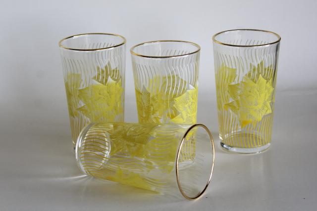 mid-century mod vintage drinking glasses, printed glass tumblers w/ yellow roses