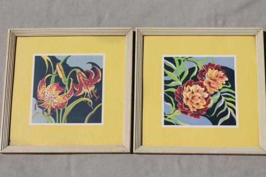 mid-century mod vintage framed wall art prints, 50s retro bright ...