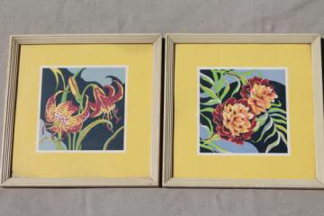 mid-century mod vintage framed wall art prints, 50s retro bright graphic florals