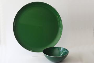 mid-century mod vintage green enamel serving set, large tray plate & bowl chip & dip
