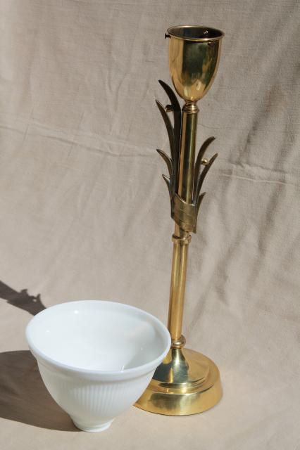 Mid Century Mod Vintage Huge Brass Torch Table Lamp