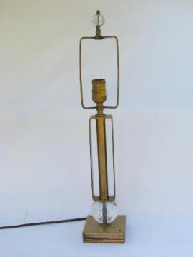 mid-century mod vintage industrial steel / glass orbs table lamp, 1950s retro