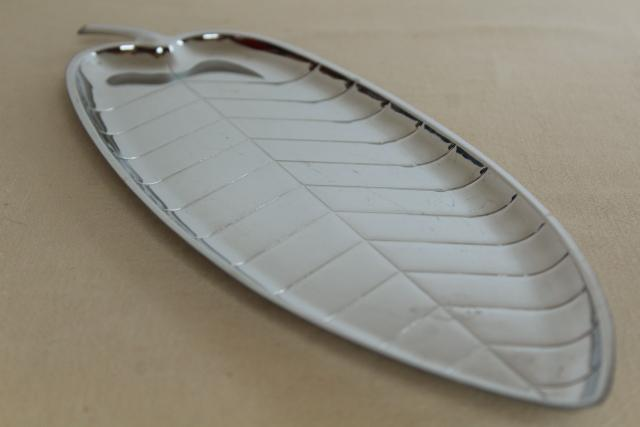 mid-century mod vintage silver chrome metal long narrow leaf tray, art deco style