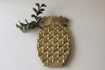 mid-century mod vintage solid brass pineapple trivet, wall art plaque or hanging