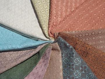 mid-century mod vintage upholstery fabric samples lot, retro colors