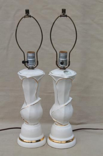 Mid Century Mod Vintage White U0026 Gold Ceramic Table Lamps W/ American China  Label