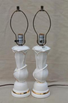 mid-century mod vintage white & gold ceramic table lamps w/ American china label