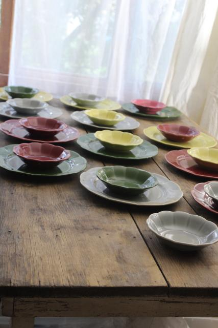 mid-century modern vintage dishes, ceramic dinnerware retro colors wine, green, chartreuse, grey