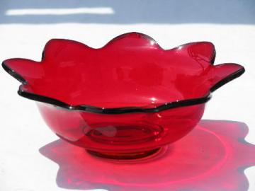 mid-century modern vintage red glass bowl, flower shape