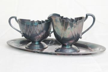 mid-century modern vintage silver plate, art deco style cream & sugar set w/ tray