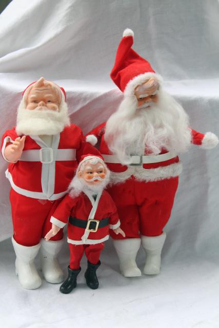 mid-century vintage Christmas decorations, lot plastic Santa Claus dolls