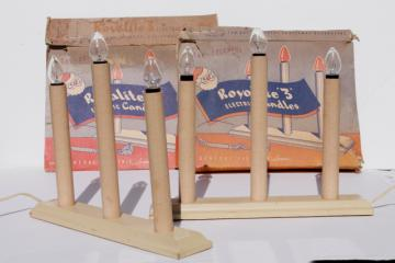 mid-century vintage Christmas decorations, wood electric candles w/ original Royalite boxes