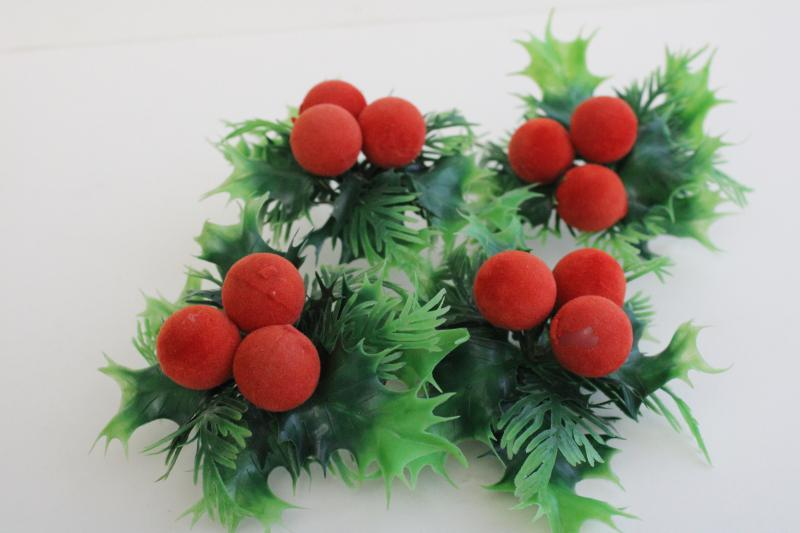 mid-century vintage Christmas holly plastic floral picks w/ flocked berries