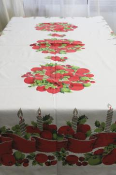 mid-century vintage Christmas print cotton tablecloth, retro holiday decor