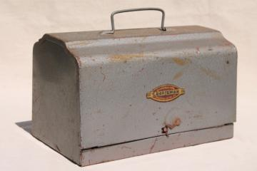 mid-century vintage Craftsman industrial metal 'lunch box' machine tool case