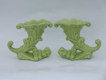 mid-century vintage Haeger pottery candle sticks, retro apple green