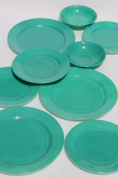 mid-century vintage Hazel Atlas aqua turquoise color milk glass dishes, plates & bowls