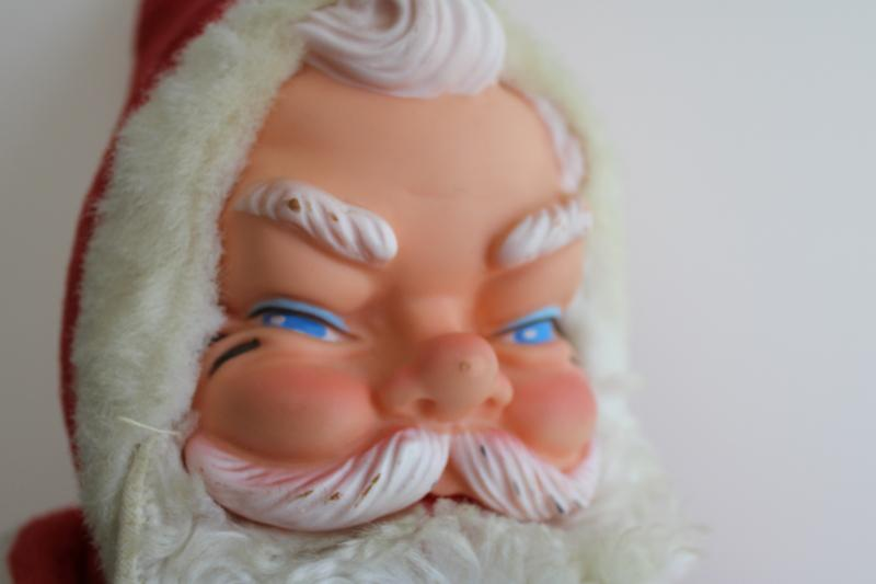 mid-century vintage Hy Toy (Rushton?) Santa Claus, stuffed doll w/ rubber face