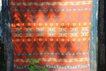 mid-century vintage Indian blanket, worn soft camp blanket orange - mint green - yellow