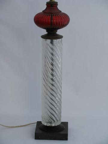 mid-century vintage Italy table lamp, ruby/crystal, Italian art glass